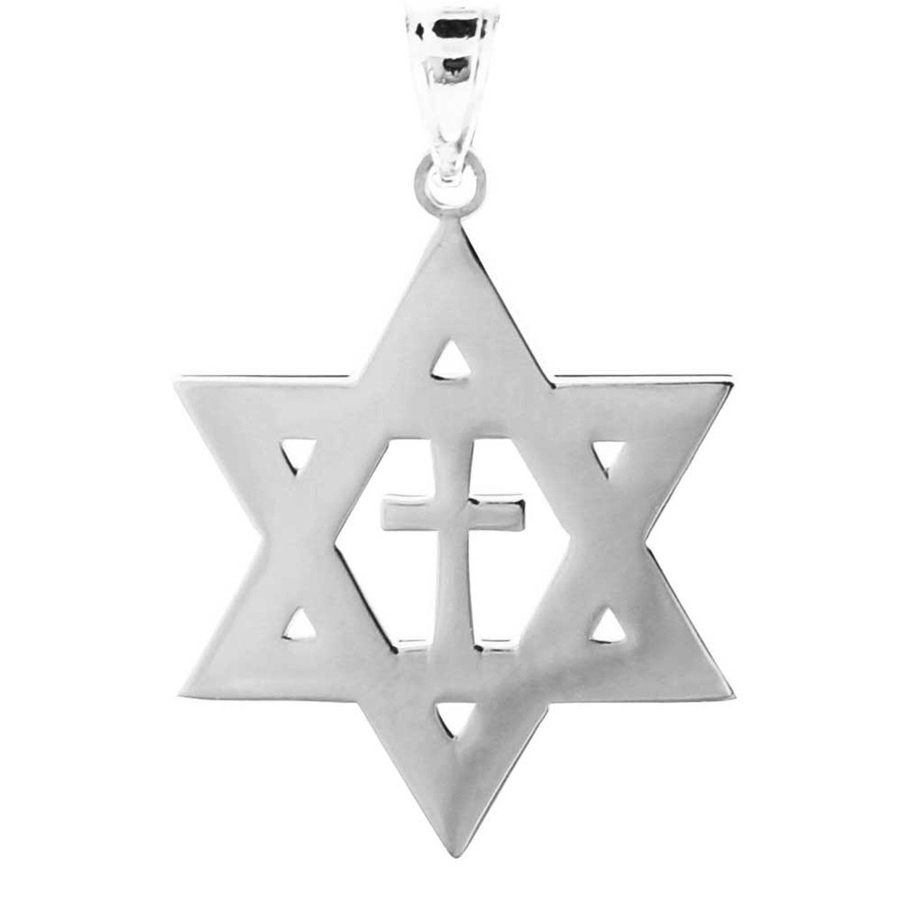 925 sterling silver high polished star of david with cross pendant 925 sterling silver high polished star of david with cross pendant aloadofball