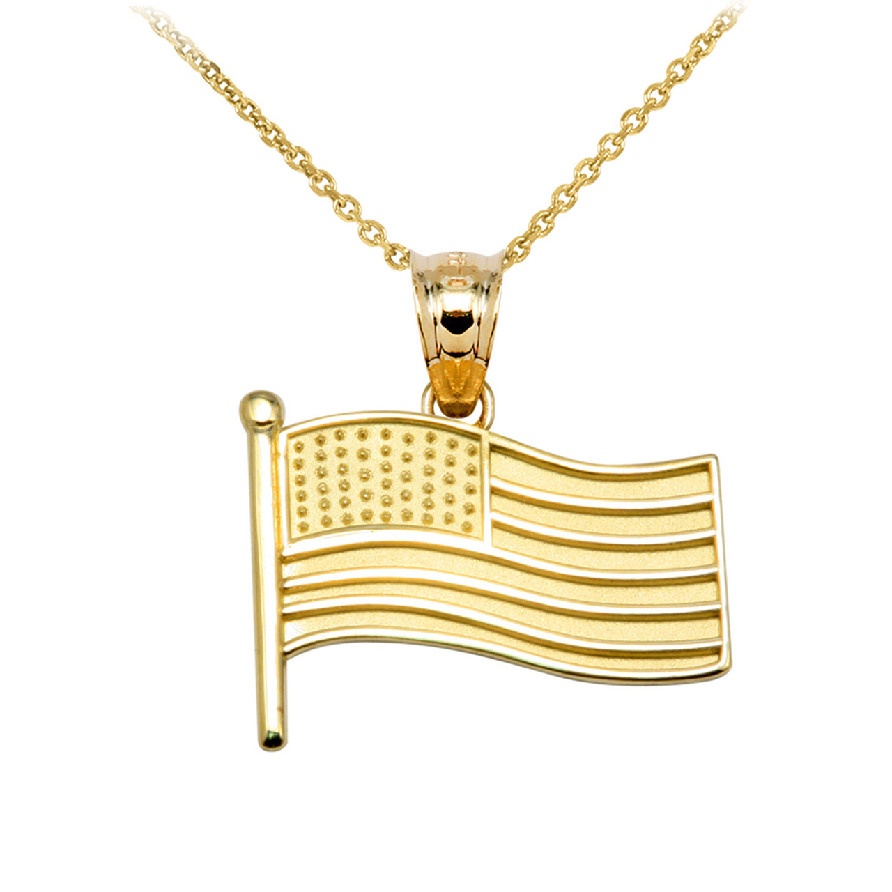american cool pin pendant gold flag sliver mens steel titanium gift necklace fashion