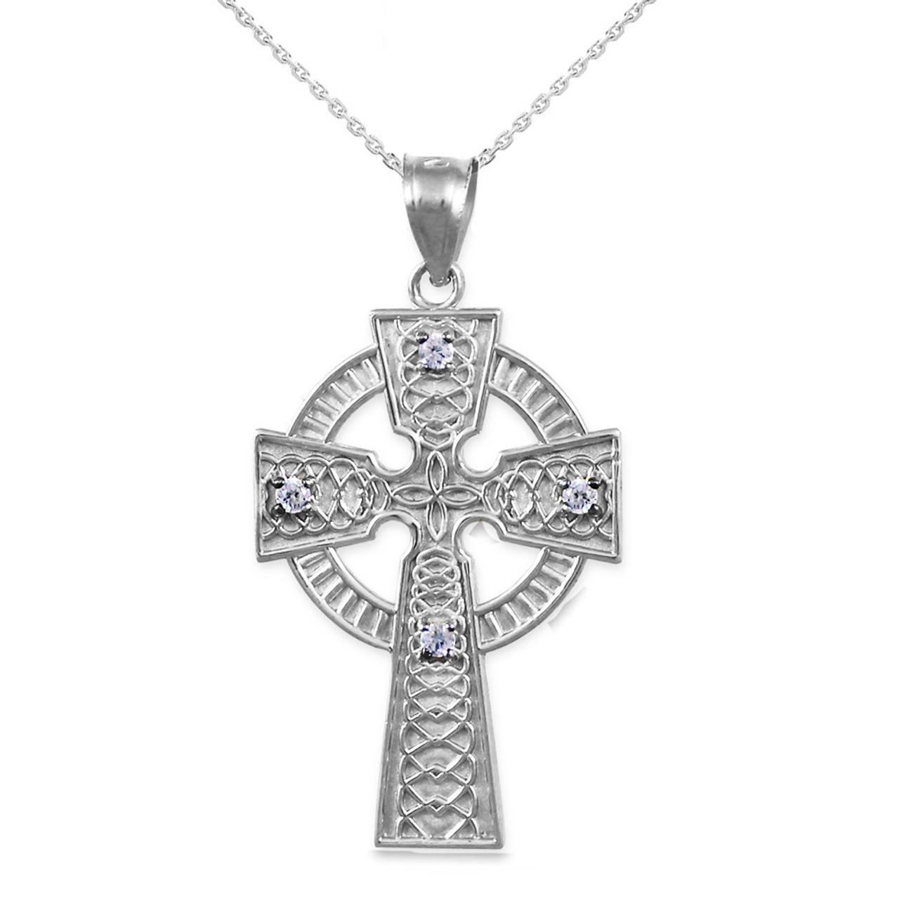 Gold Celtic Cross Diamond Pendant