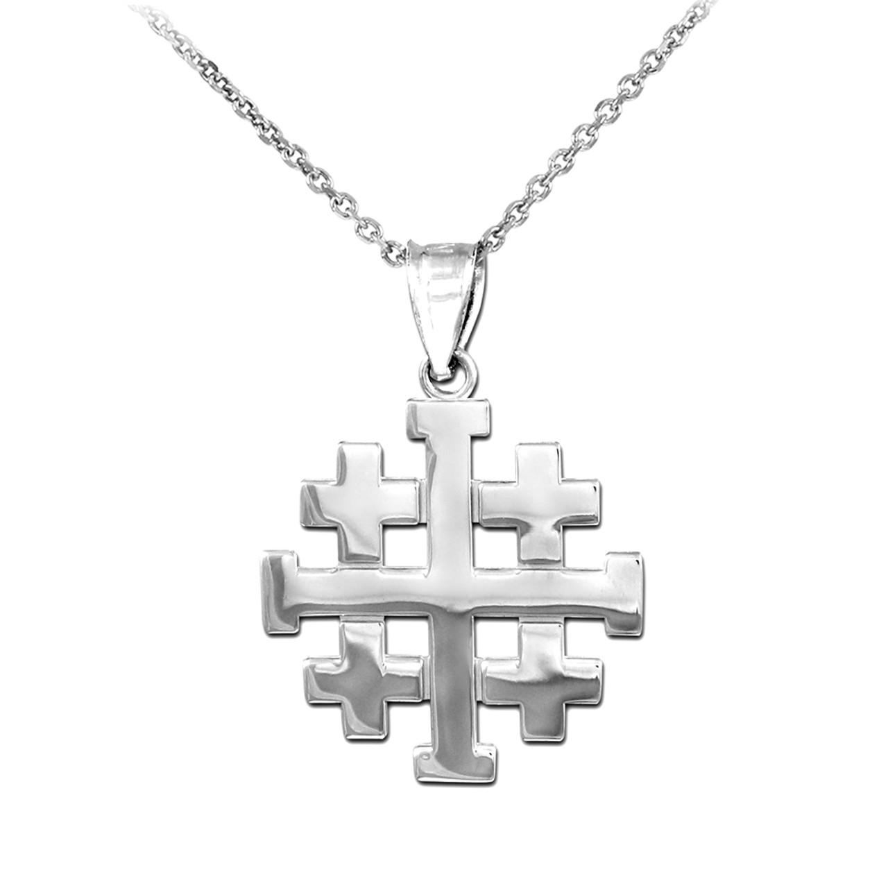 Polished silver jerusalem crusaders cross pendant necklace aloadofball Images