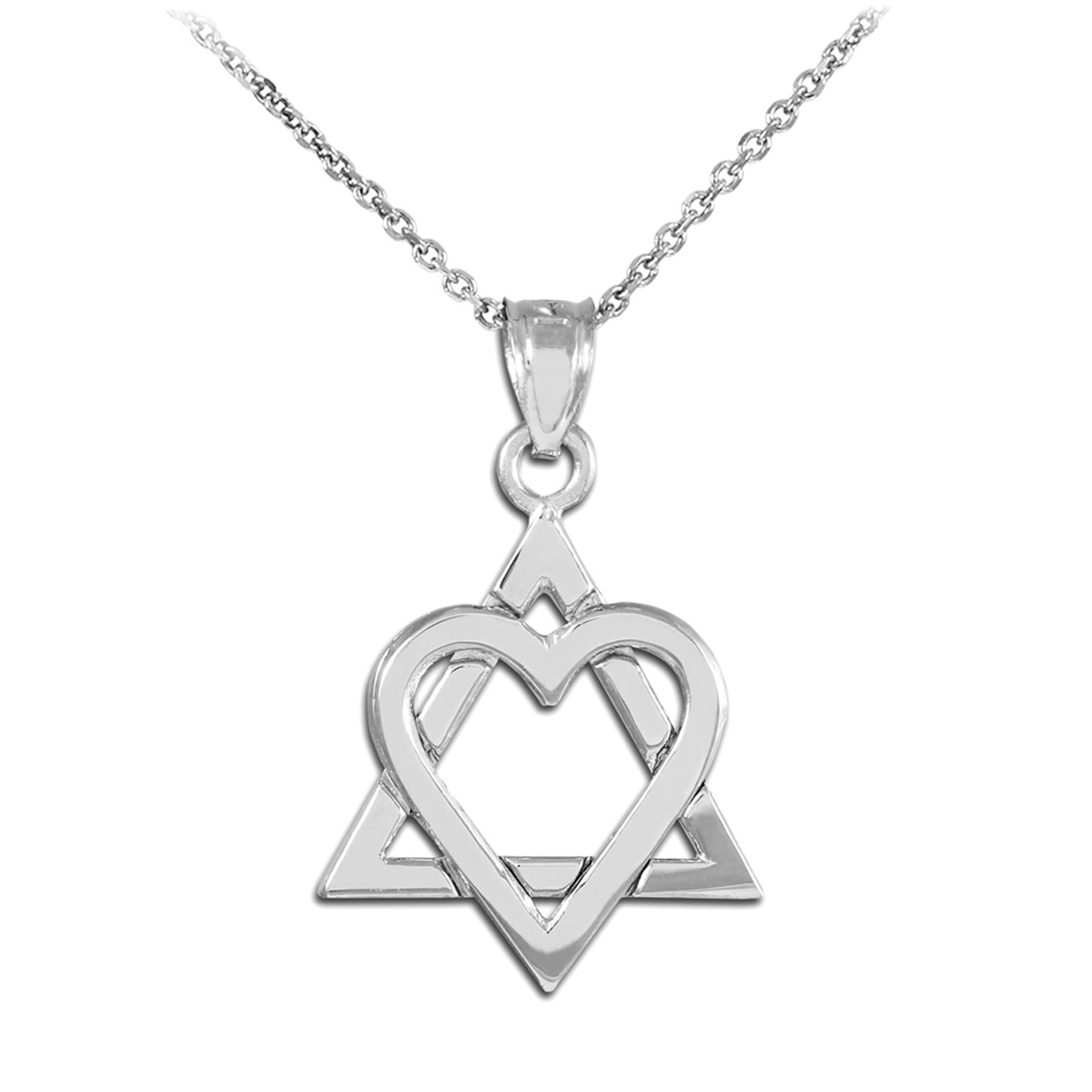 925 sterling silver polished star of david heart pendant necklace 925 sterling silver star of david heart medium pendant necklace aloadofball Image collections