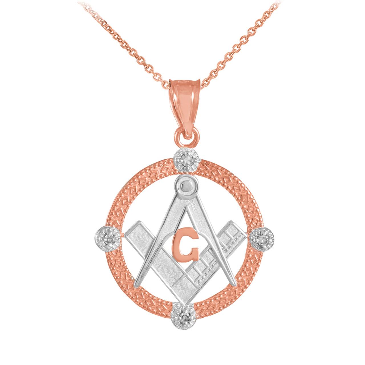 Two tone rose gold round freemason diamond masonic pendant two tone rose gold round freemason diamond masonic pendant necklace aloadofball Gallery
