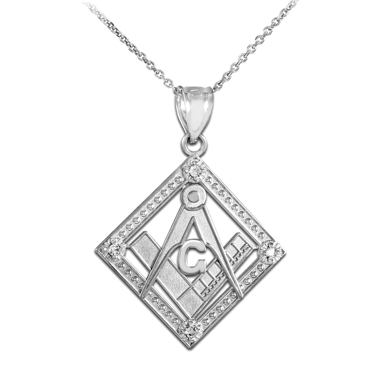 square round gold white diamond freemason necklace pendant masonic