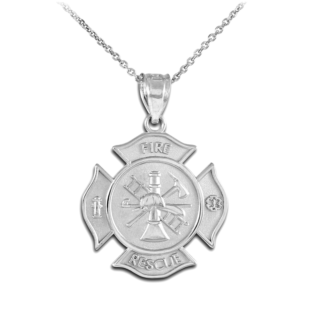 pendant necklace cross maltese firefighter mizpah