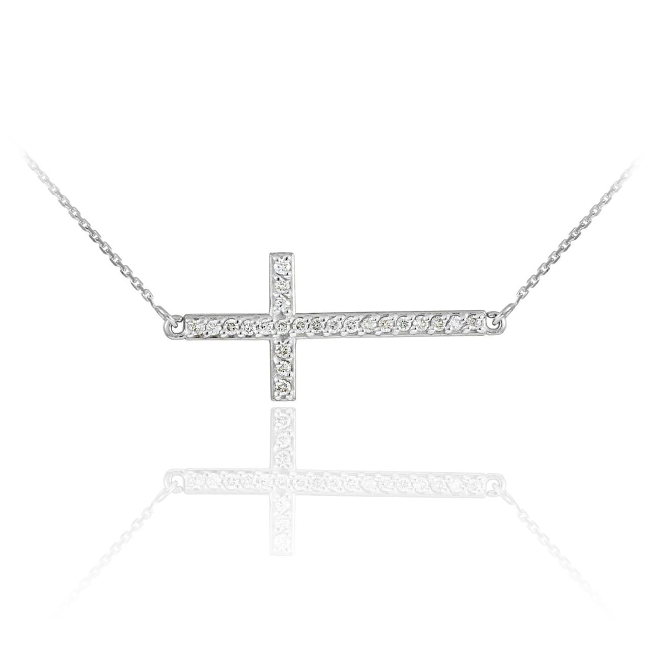 Sterling silver sideways cross cz pendant necklace aloadofball Gallery