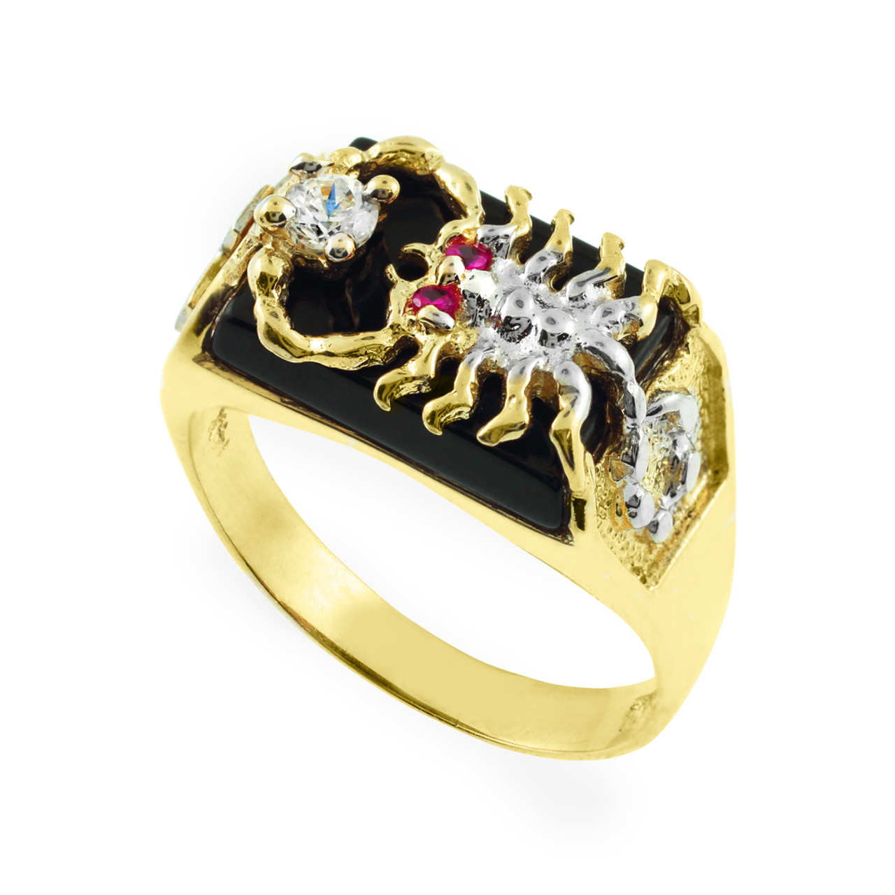 men 39 s gold black onyx scorpion ring. Black Bedroom Furniture Sets. Home Design Ideas