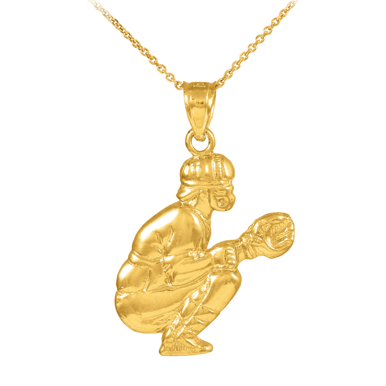 Gold Baseball Catcher Charm Sports Pendant