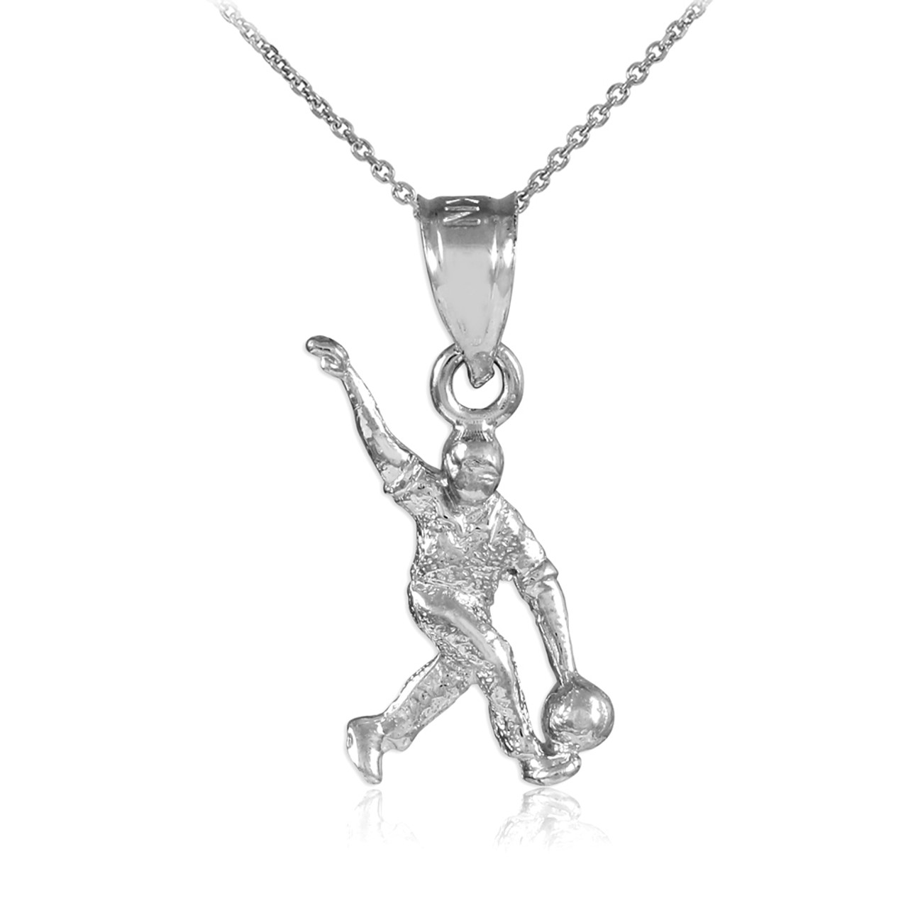 White gold bowling man charm sports pendant necklace gold bowling white gold bowling man charm sports pendant necklace aloadofball Images