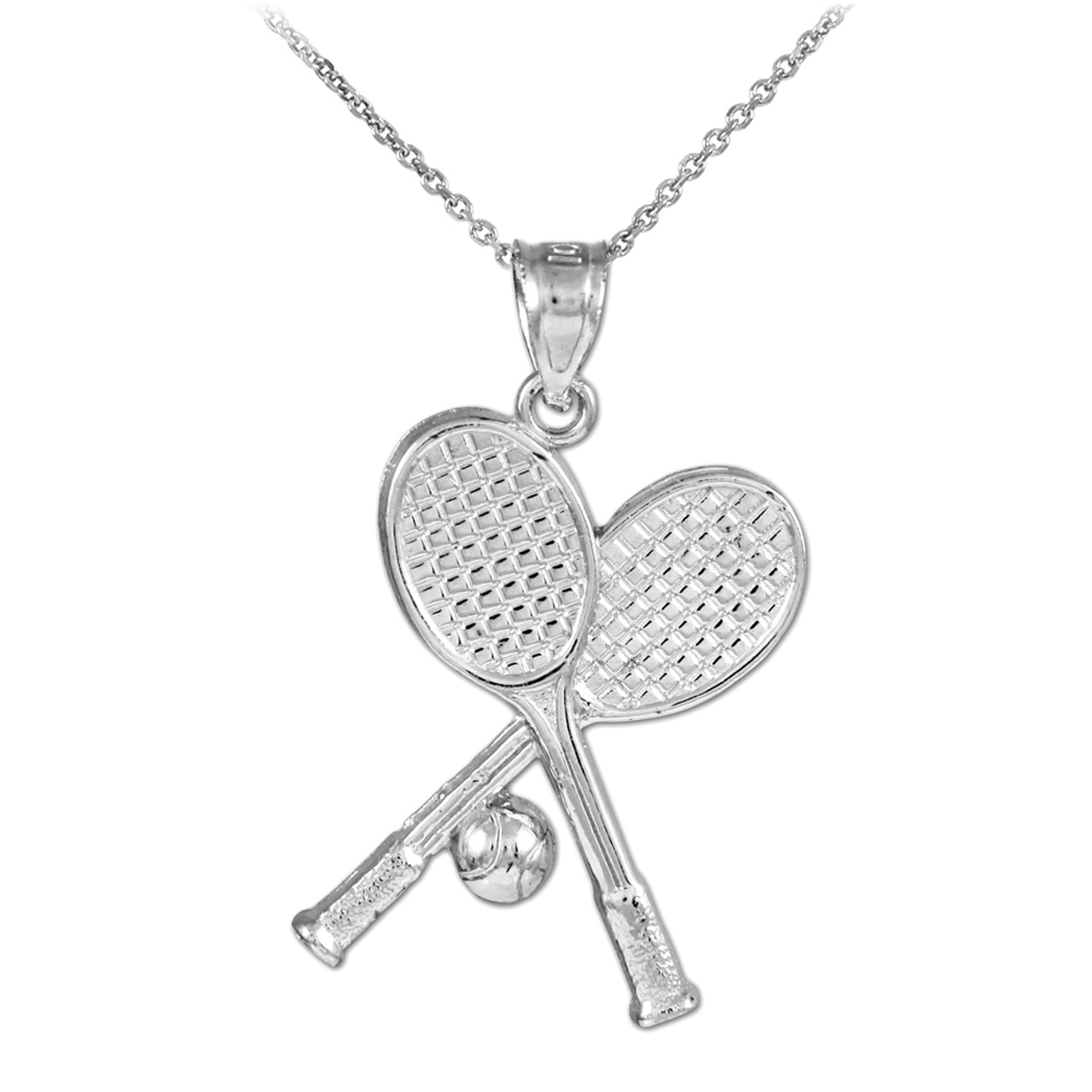 Tennis racquets and ball white gold charm sports pendant necklace tennis racquets and ball white gold charm sports pendant necklace aloadofball Images