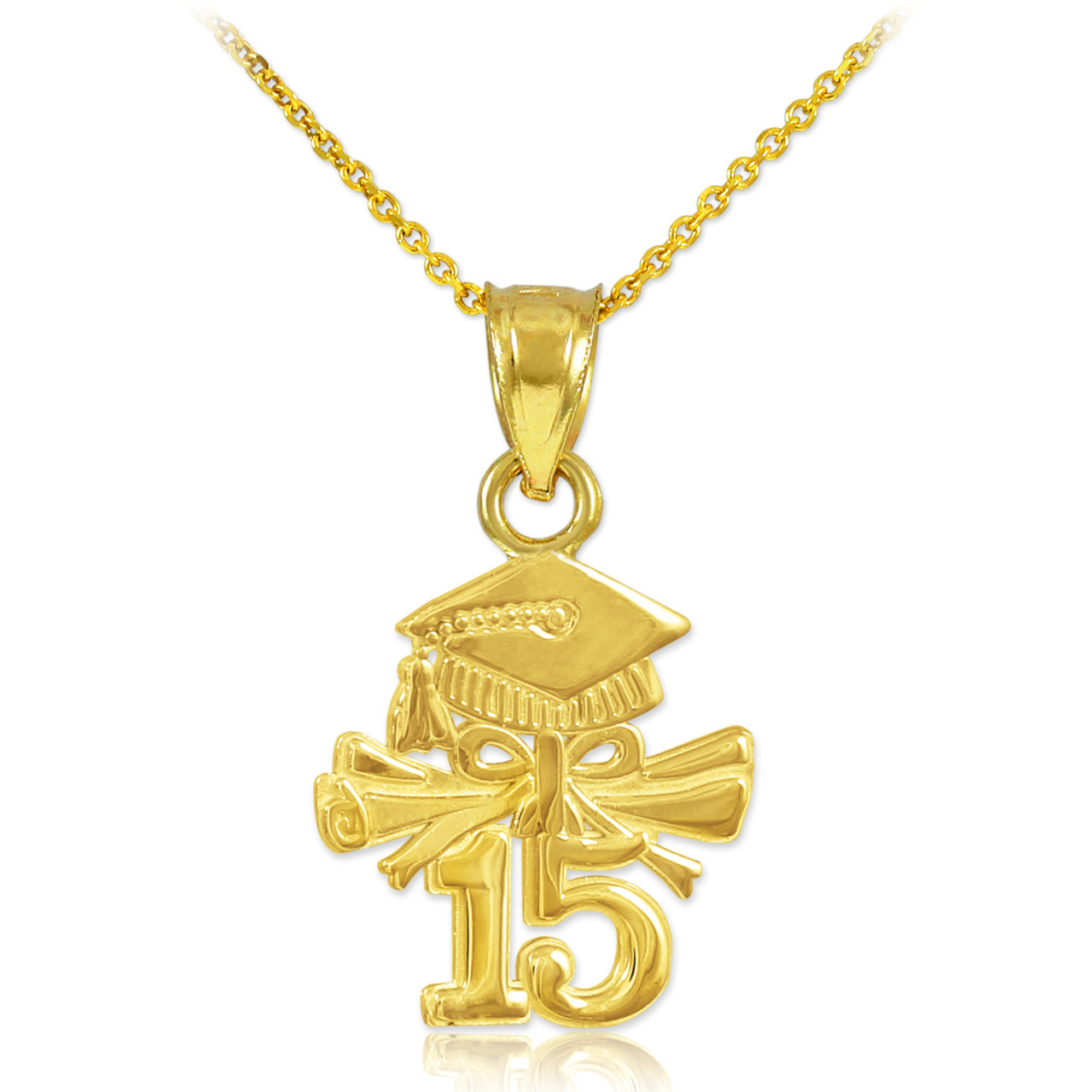 Gold 2015 Graduation Charm Necklace