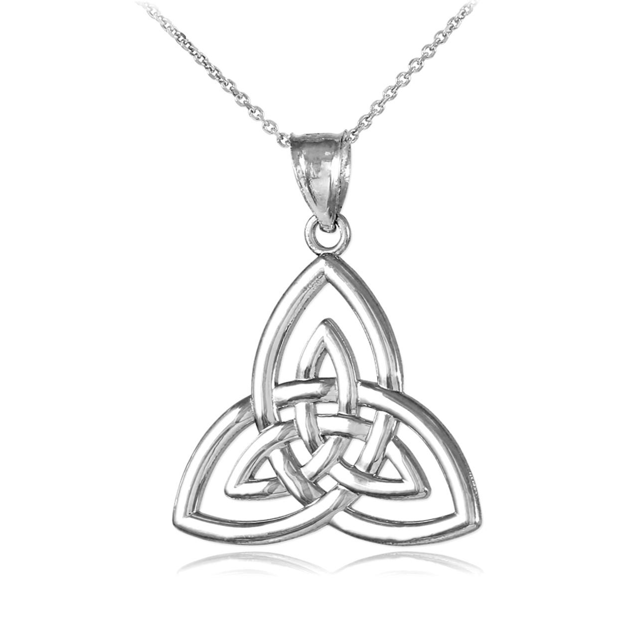 White Gold Triquetra Trinity Knot Pendant