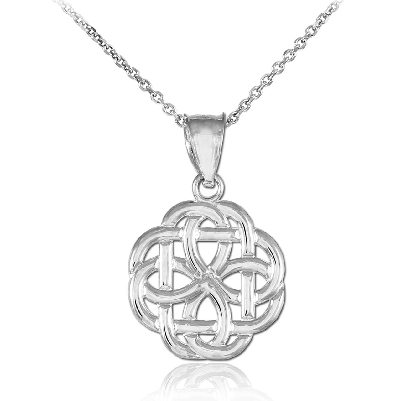 Trinity knot white gold pendant white gold triquetra celtic trinity pendant necklace aloadofball Gallery