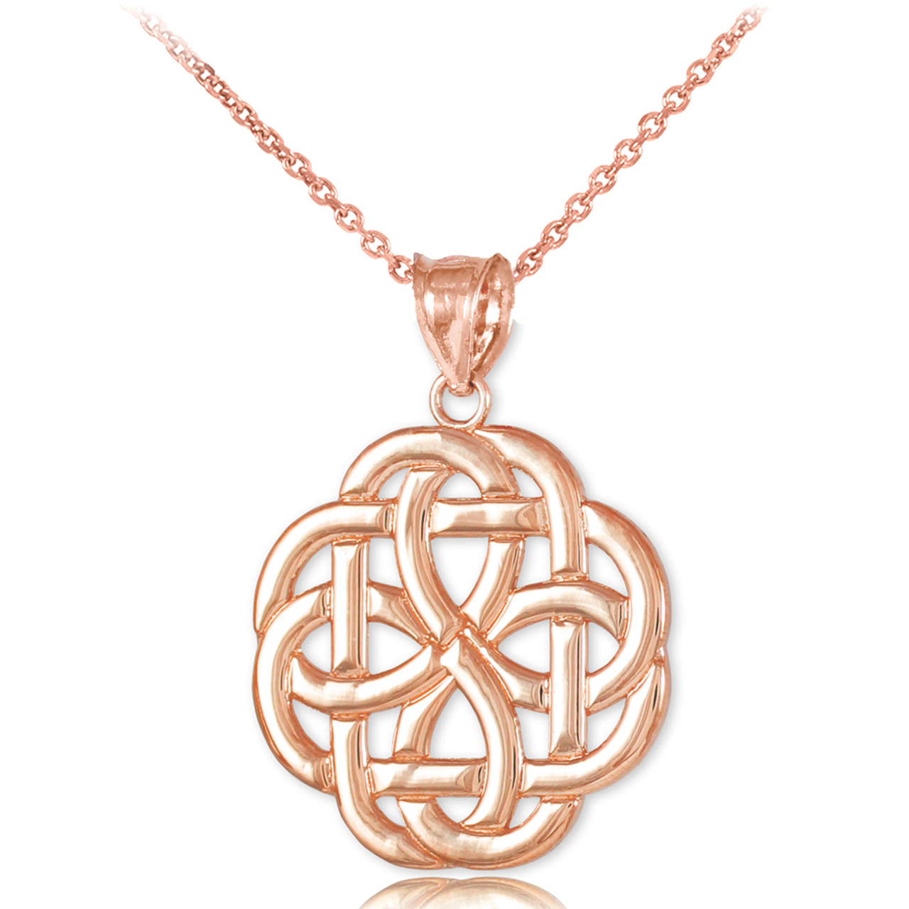 Rose gold triquetra celtic trinity pendant necklace aloadofball Gallery