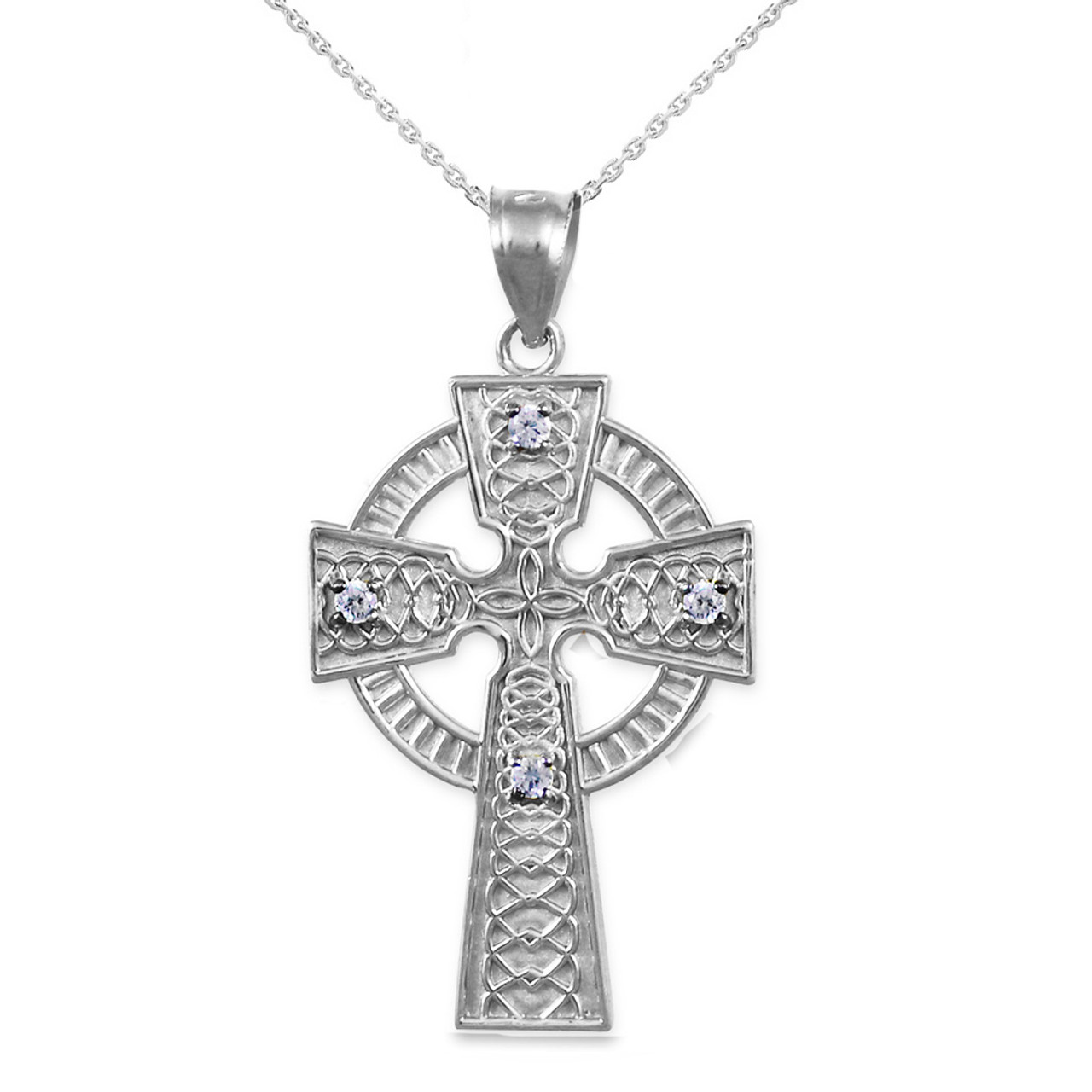 925 sterling silver celtic cross diamond pendant necklace sterling silver celtic cross diamond pendant necklace aloadofball Images