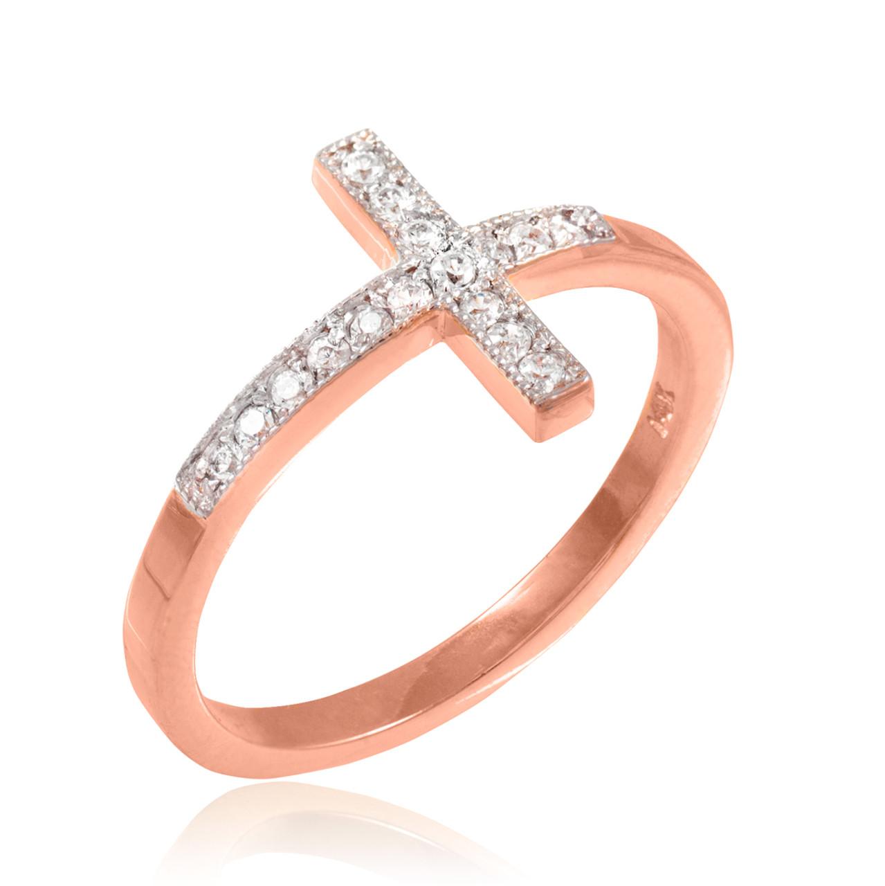Rose Gold Sideways Cross Ring