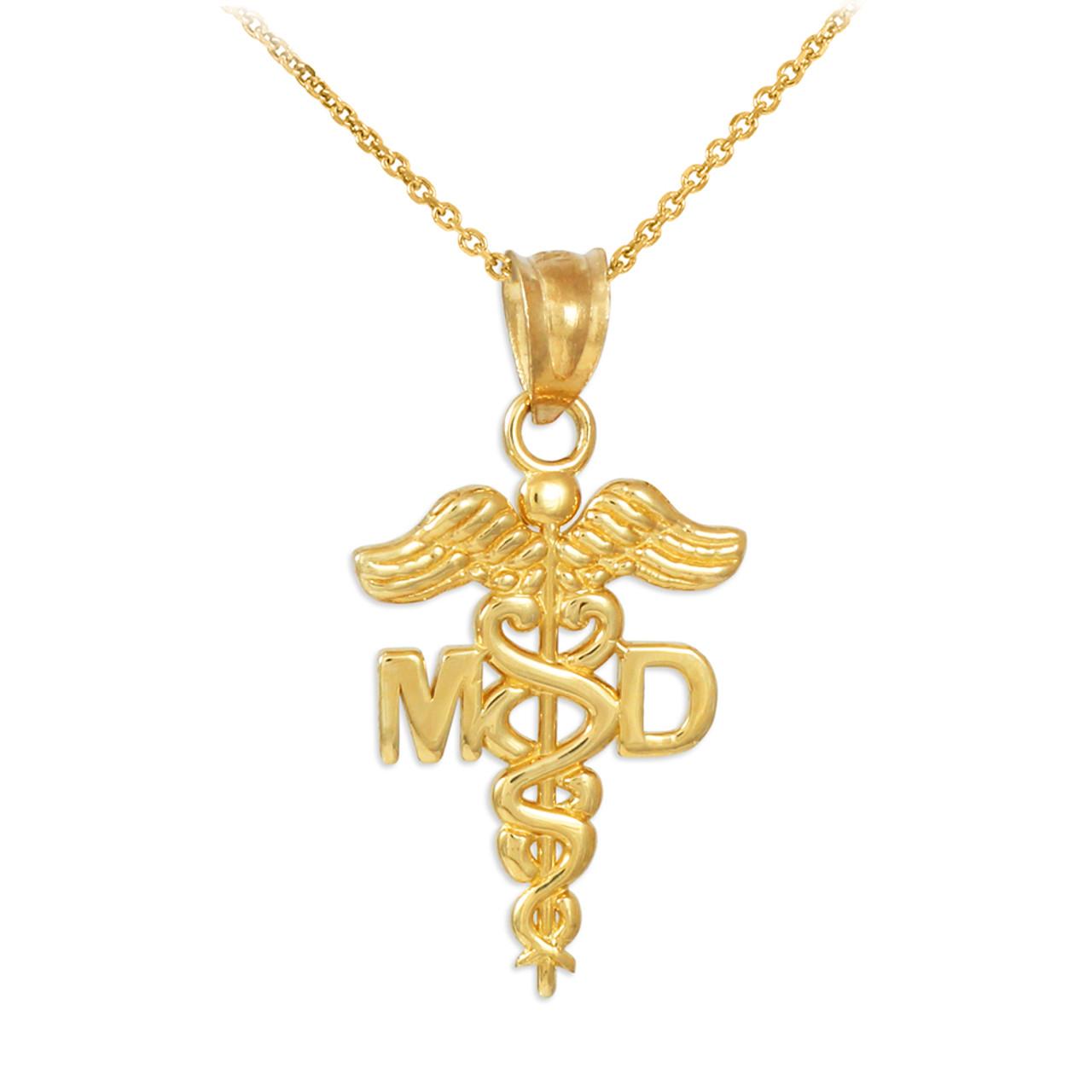 Gold Medical Doctor Md Caduceus Charm Pendant