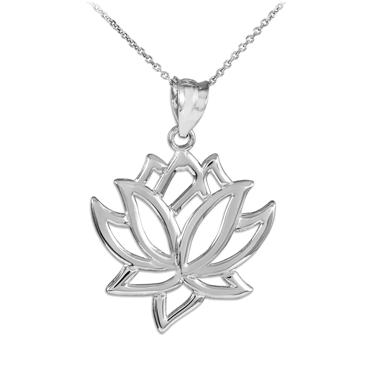 White Gold Lotus Flower Pendant