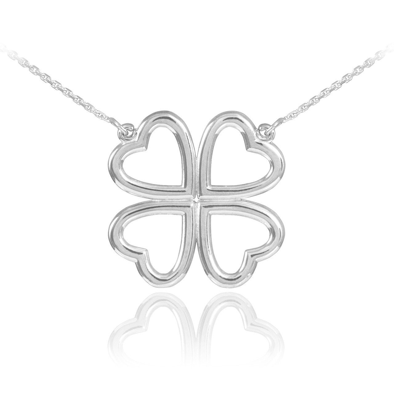 necklace jewelry pfs cz sterling shamrock bling leaf lucky az clover silver four