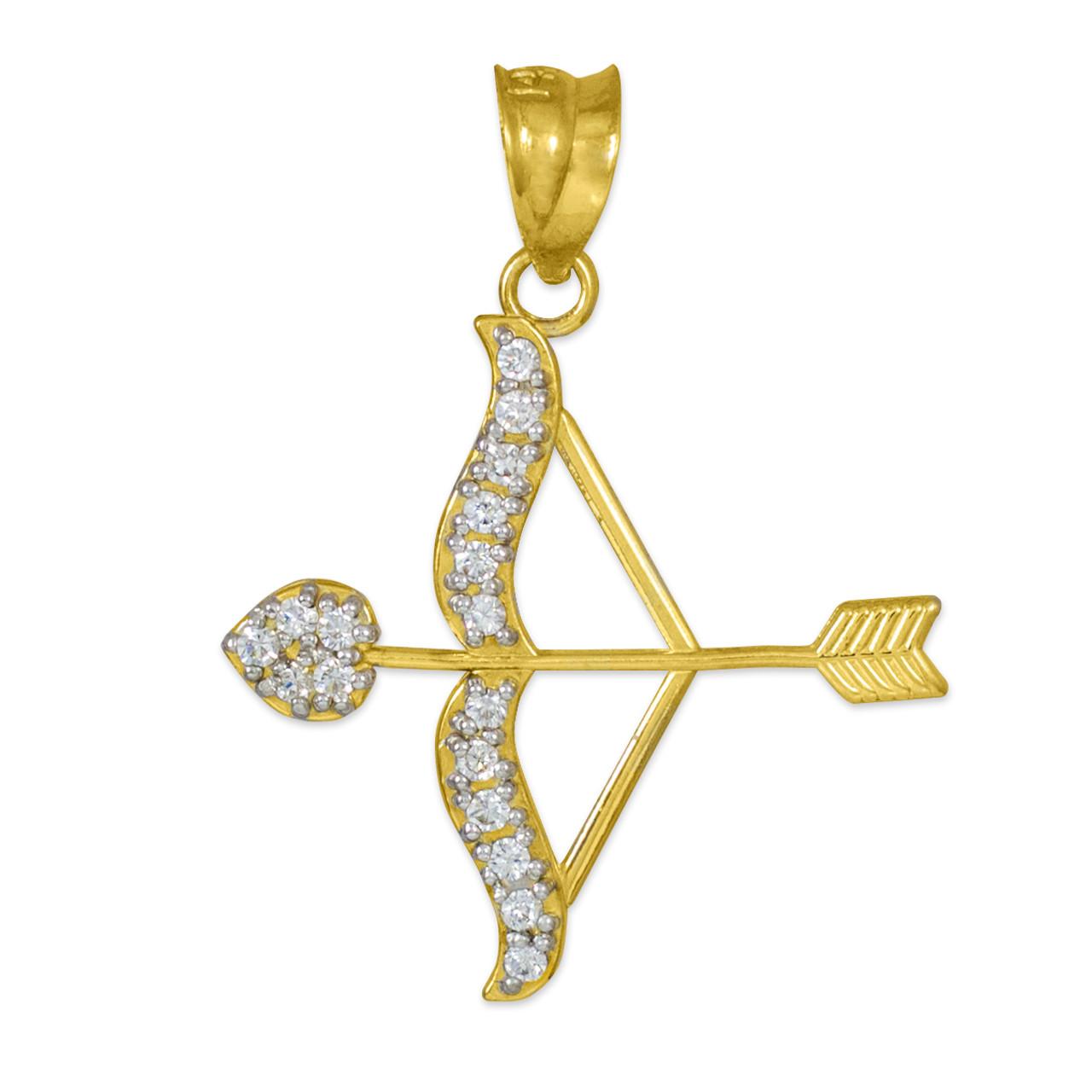 Arrow Bow Pendant | Bow and Arrow Pendant | Gold Bow Arrow ... Gold Bow And Arrow