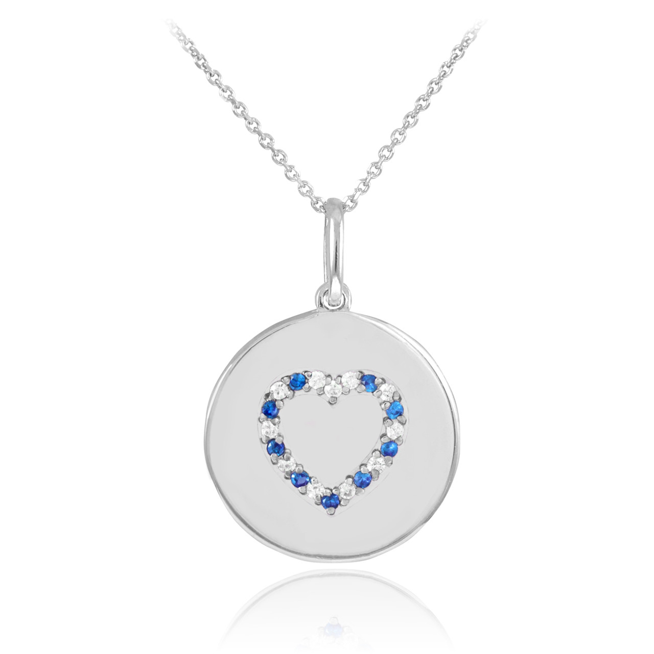 Disc pendant heart disc pendant necklace diamond disc pendant heart disc pendant necklace with diamonds and sapphire in 14k white gold aloadofball Choice Image
