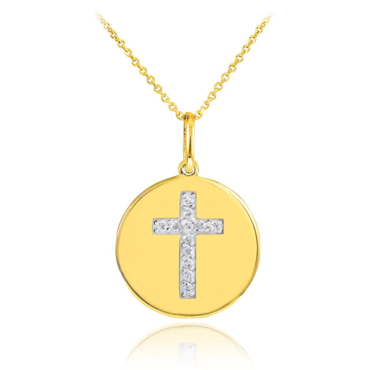 Disc pendant necklace cross disc pendant necklace diamond disc cross disc pendant necklace with diamonds in 14k gold aloadofball Choice Image