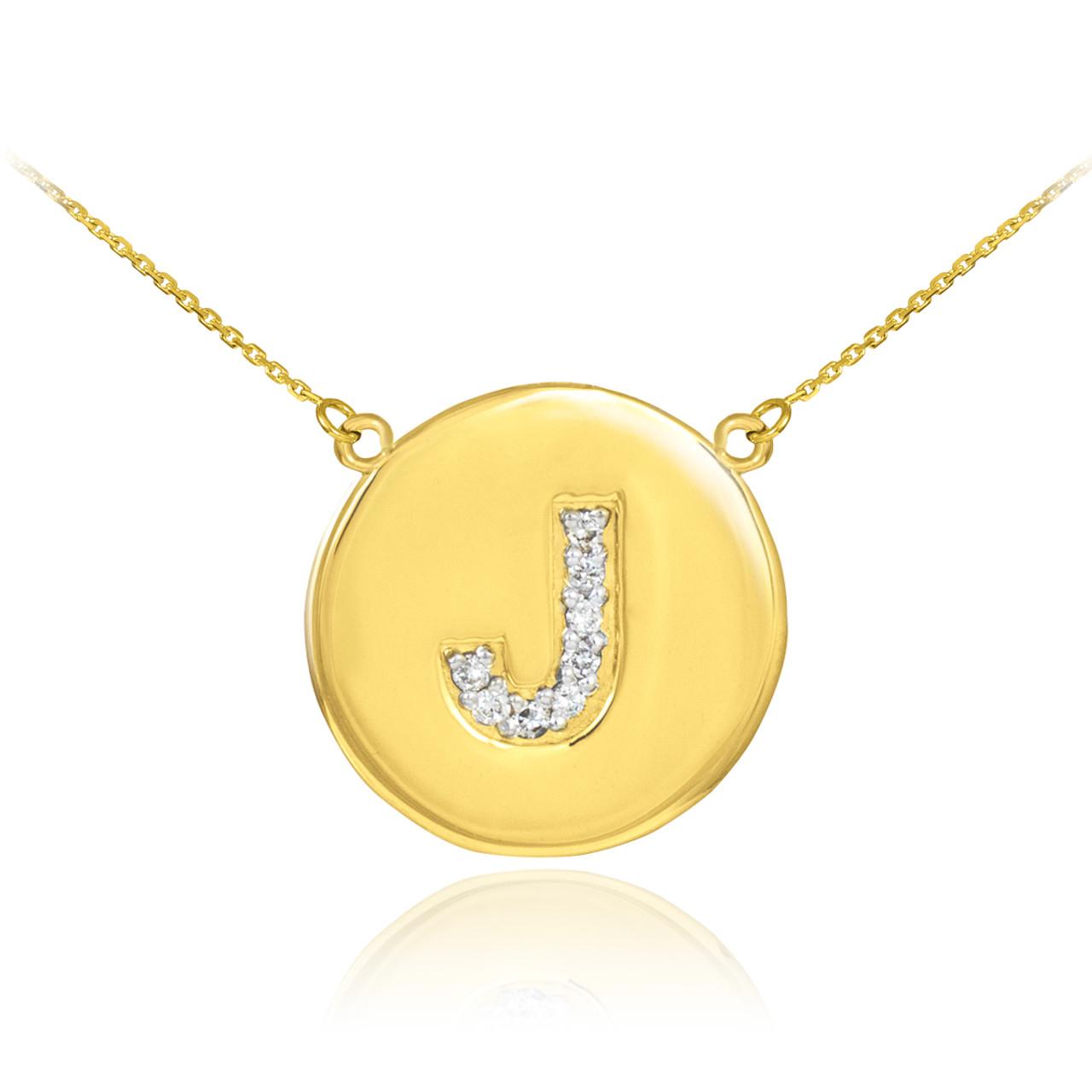 14k gold letter j initial diamond disc necklace aloadofball Gallery