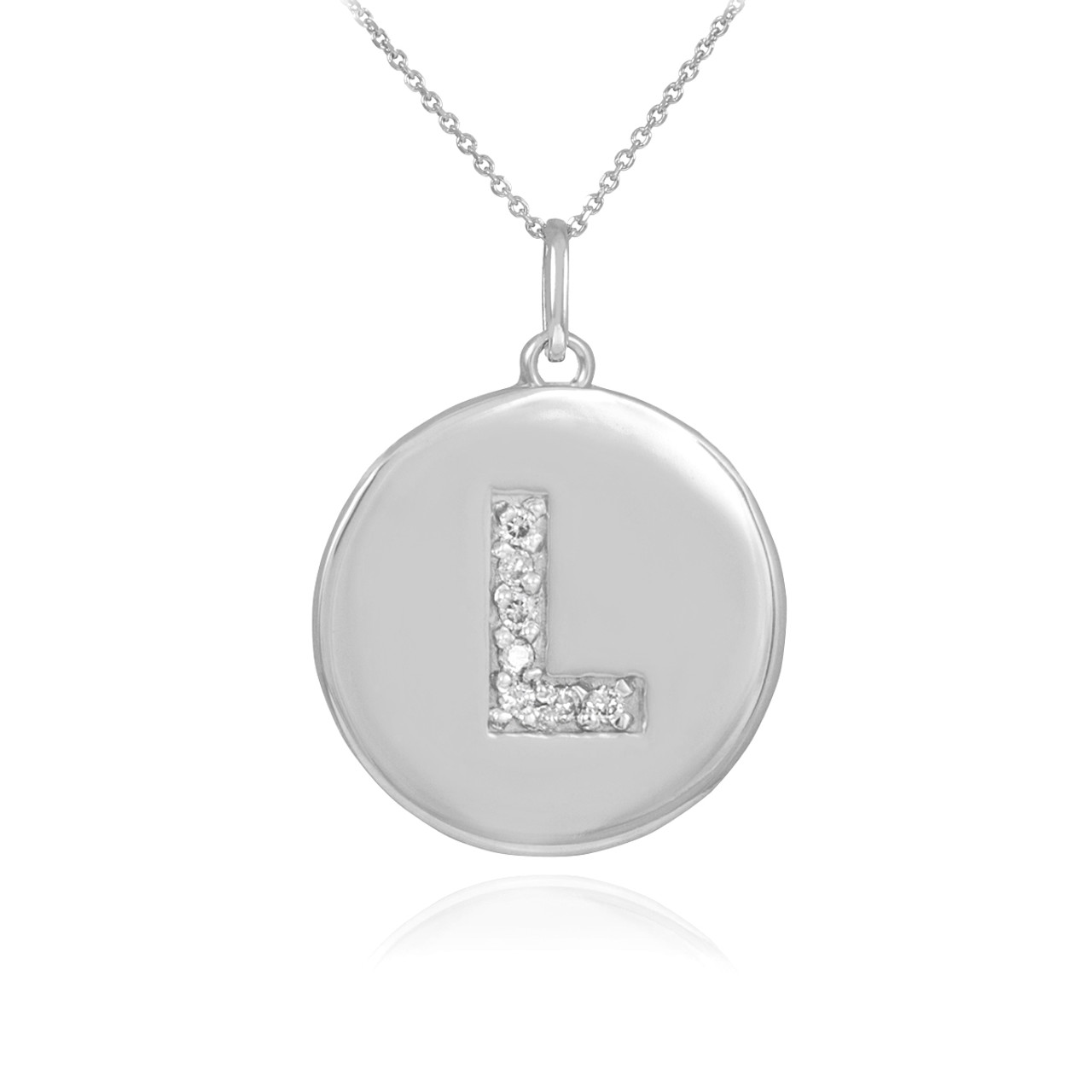 Initial l disc necklace initial l disc pendant white gold letter l disc pendant necklace with diamonds in 10k or 14k white gold mozeypictures Image collections