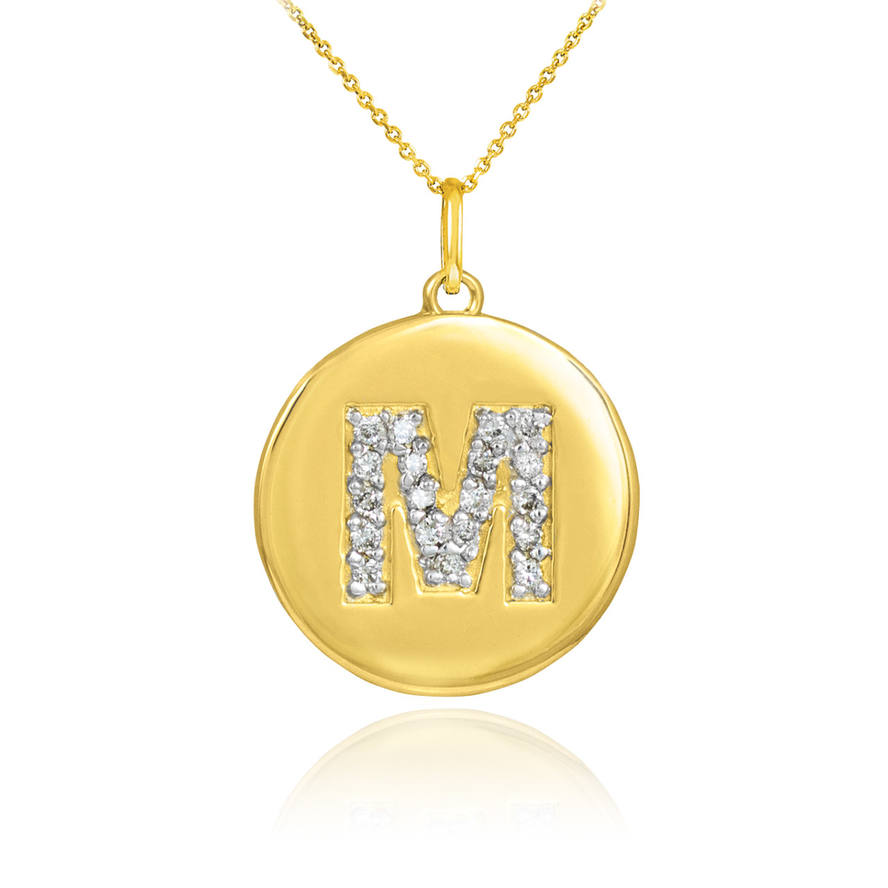 Initial m disc necklace initial m disc pendant gold letter gold letter m initial diamond disc pendant necklace aloadofball Images