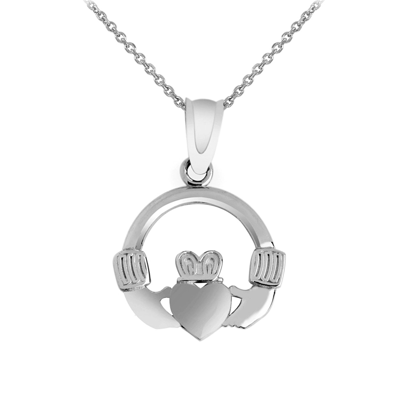 White gold claddagh necklace pendant aloadofball Image collections