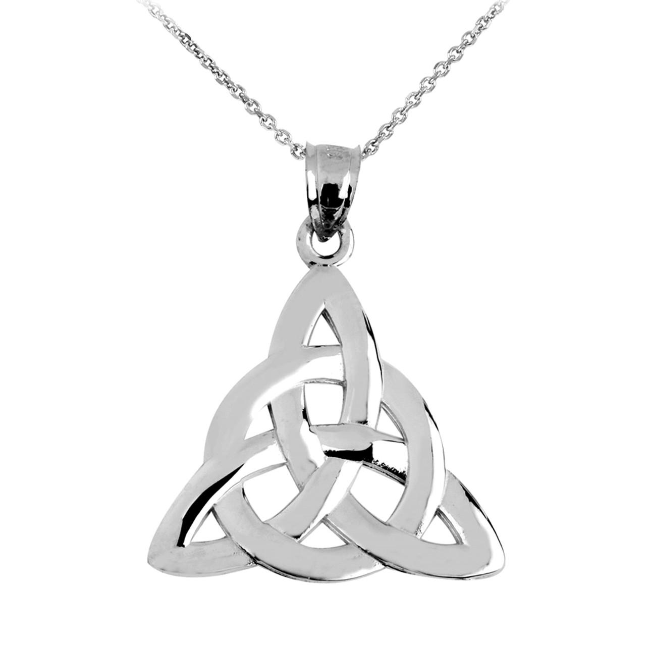 White gold celtic trinity pendant necklace aloadofball Gallery