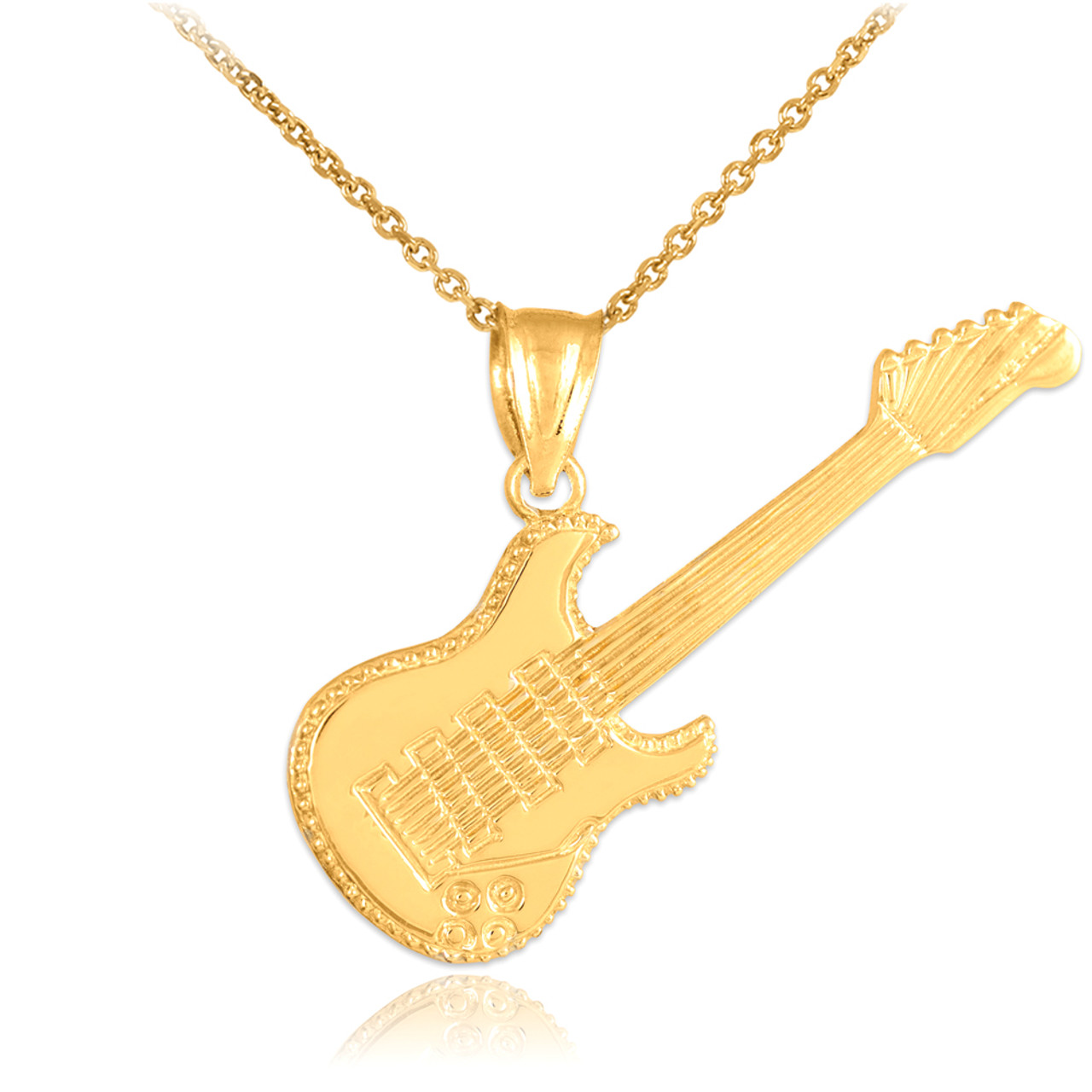 pendant guitar necklace d acoustic gold