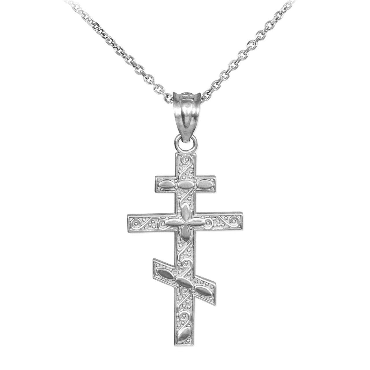 Silver russian orthodox cross pendant necklace aloadofball Images