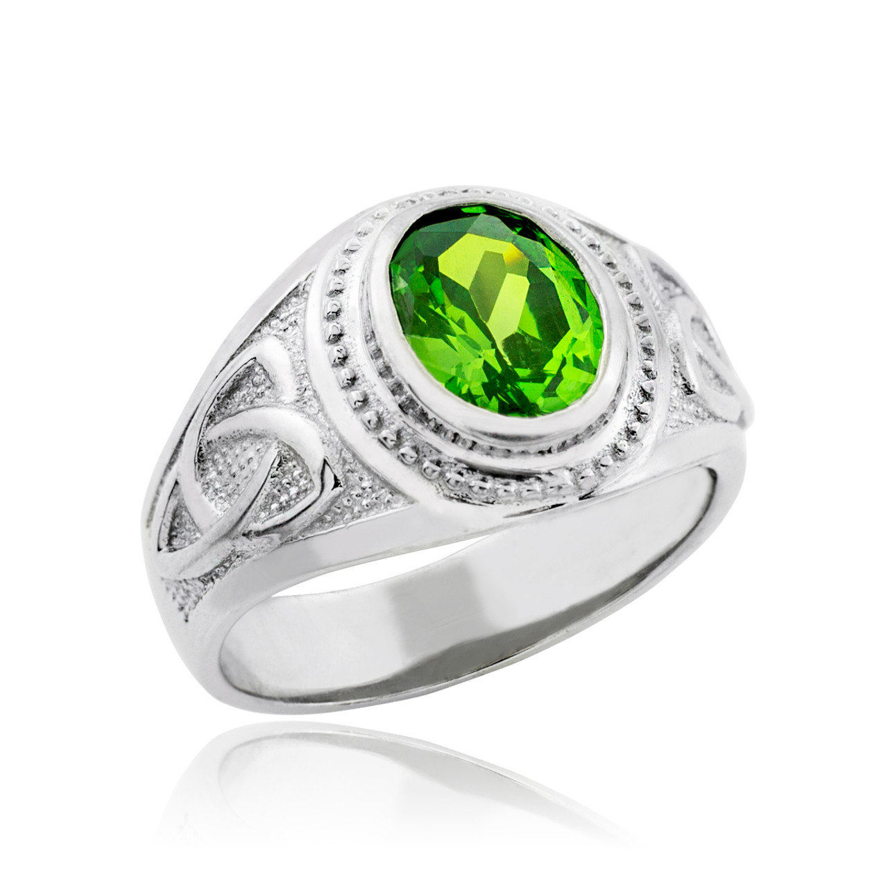 Perfect Sterling Silver Celtic Emerald Green CZ Mens Ring TZ49