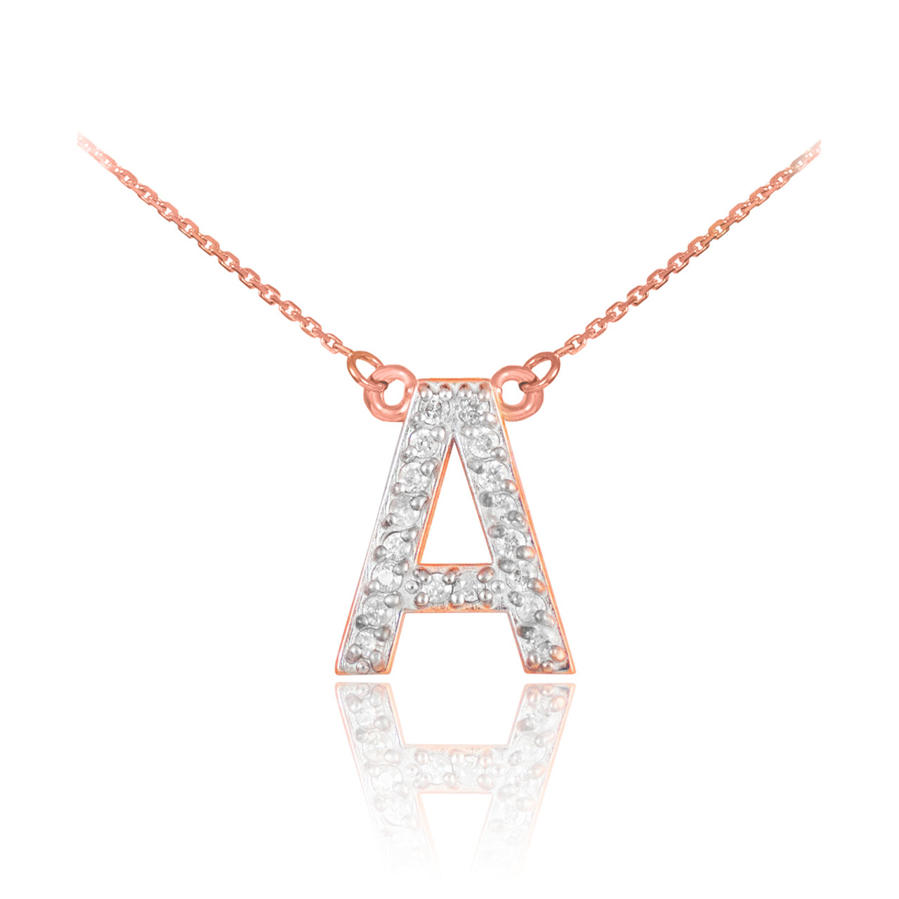 14k rose gold letter a initial diamond monogram necklace 14k rose gold letter a diamond initial monogram necklace aloadofball Gallery