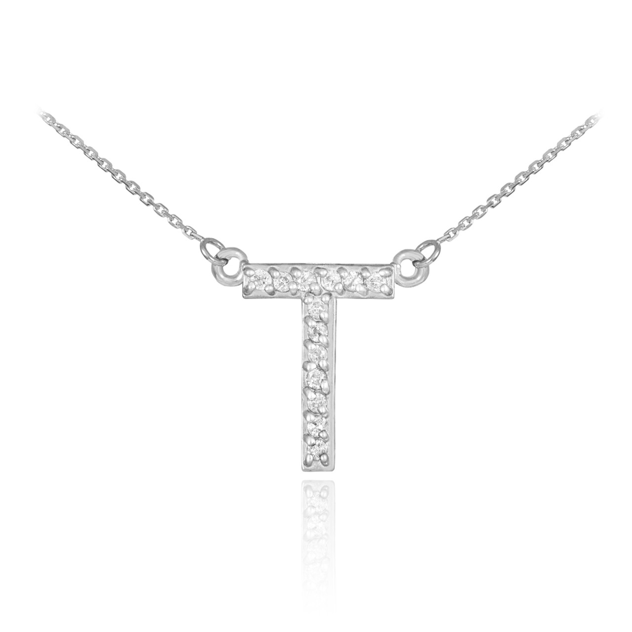 diamond pendant in letter white gold boutique necklace milgrain t
