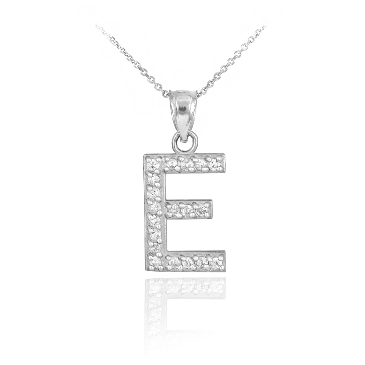 White gold letter e diamond initial pendant necklace mozeypictures Image collections