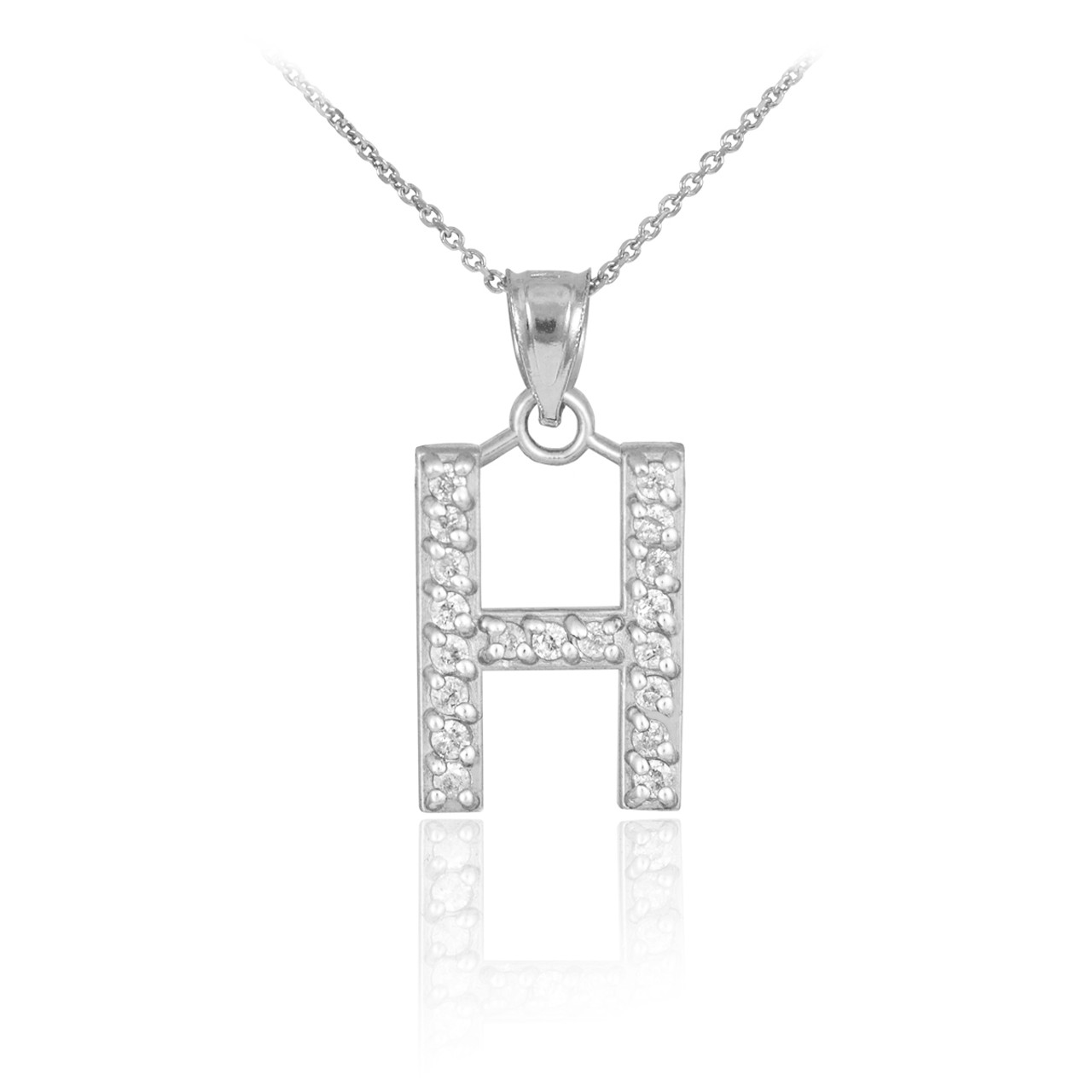 Gold letter h diamond initial pendant necklace white gold letter h diamond initial pendant necklace mozeypictures Image collections