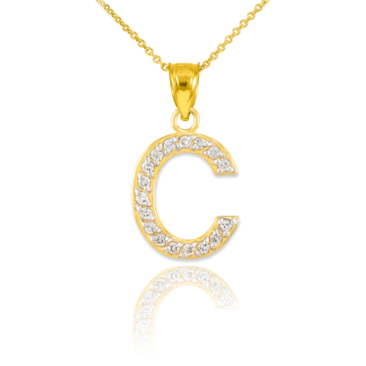 Gold letter c diamond initial pendant necklace mozeypictures Choice Image
