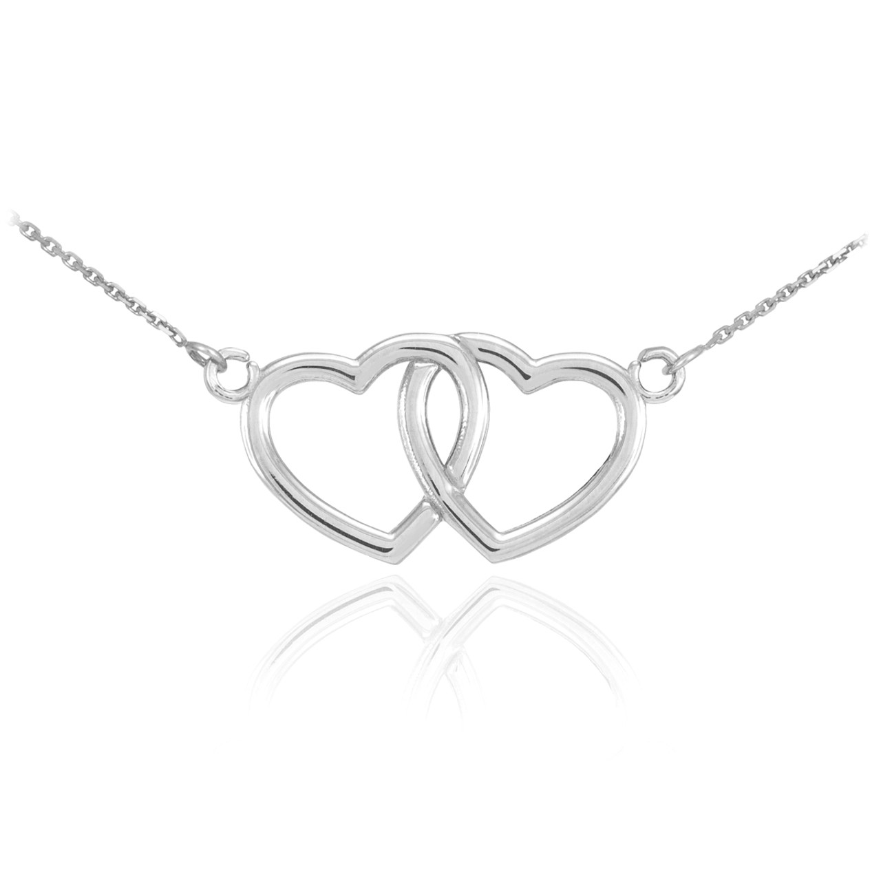 products iydc with necklace dainty n doubleheart heart hearts g gold pendant your in dreams interlocking plated double