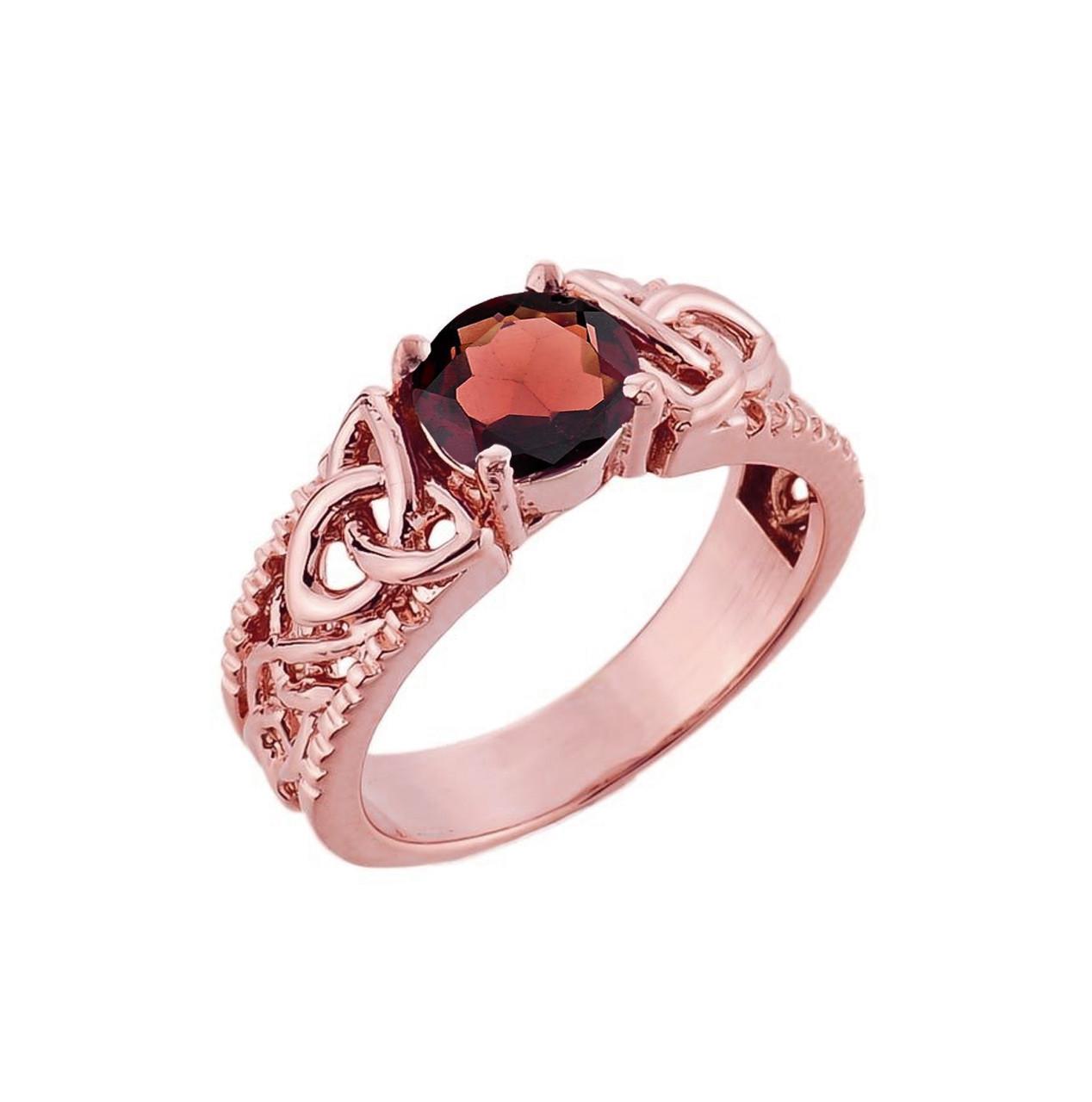10K Rose Gold Celtic Knot Garnet Gemstone Ring January Birthstone ...