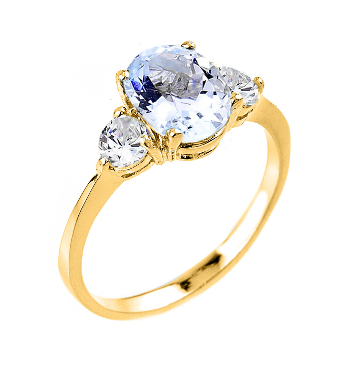 yellow gold ladies genuine aquamarine gemstone engagement ring. Black Bedroom Furniture Sets. Home Design Ideas