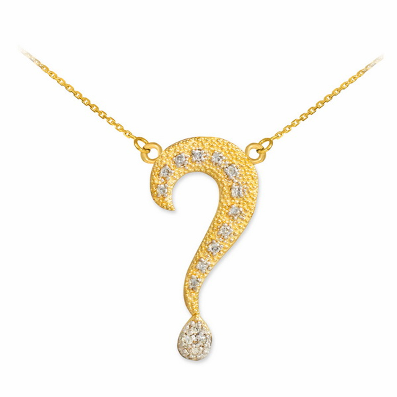14k textured gold diamond question mark necklace diamond question mark necklace aloadofball Choice Image
