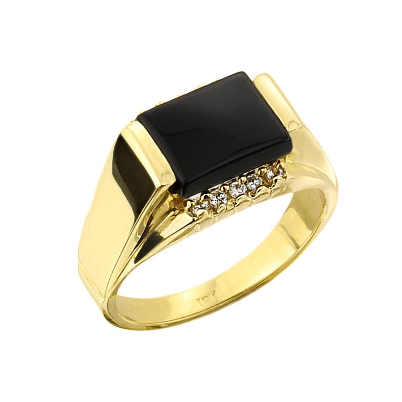 mens gold black onyx ring
