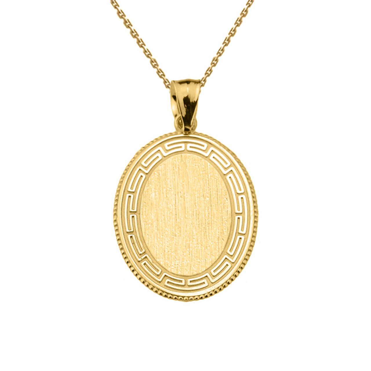 Greek key yellow gold engravable oval pendant aloadofball Choice Image