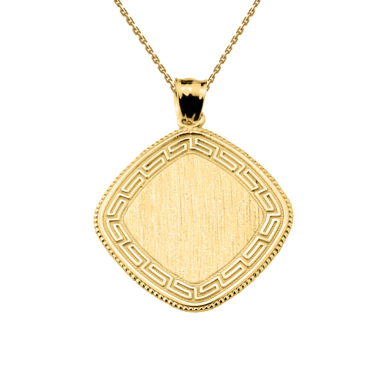 Greek key yellow gold engravable charm pendant aloadofball Choice Image