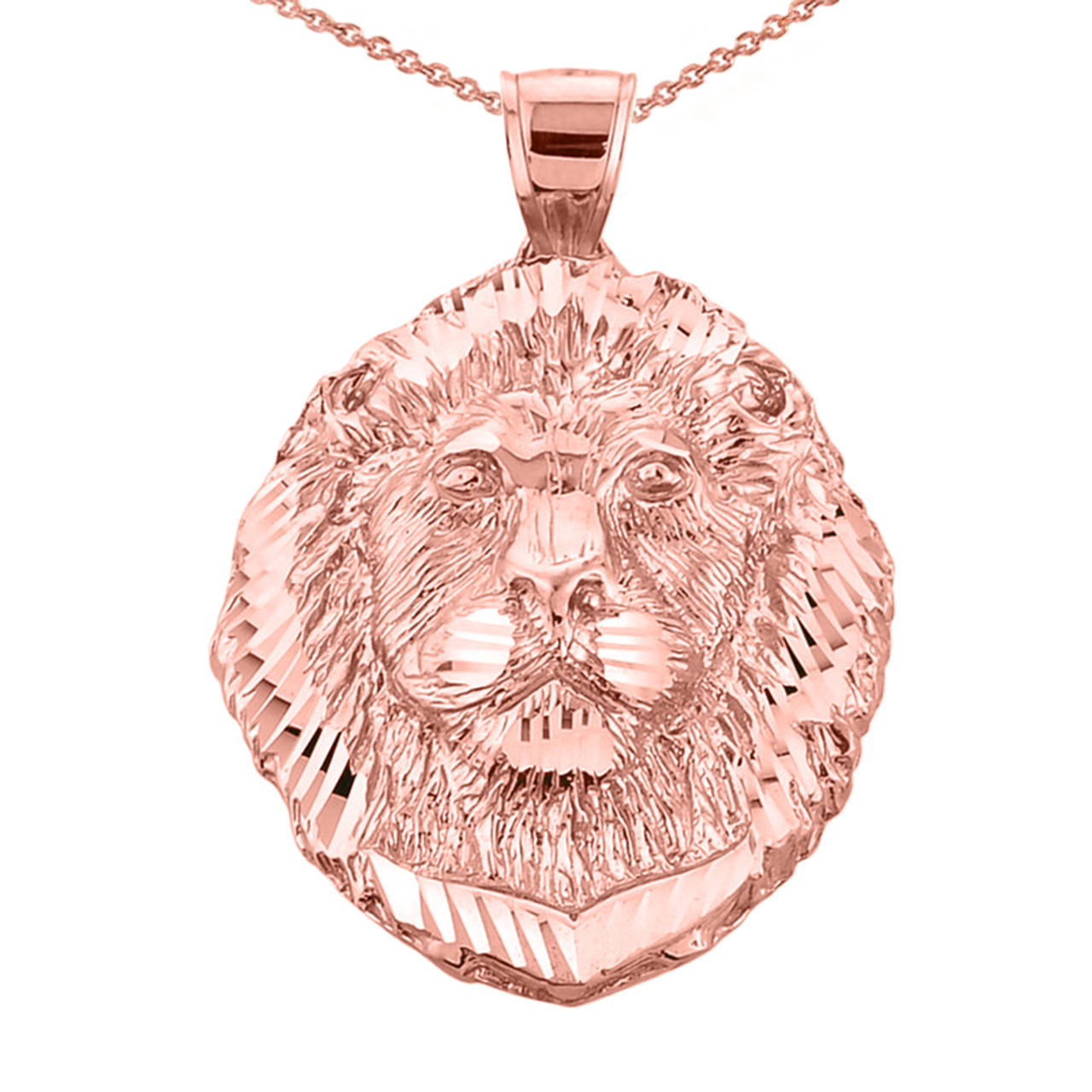 Rose gold lion head charm pendant necklace diamond cut lion head pendant necklace in rose gold mozeypictures Image collections