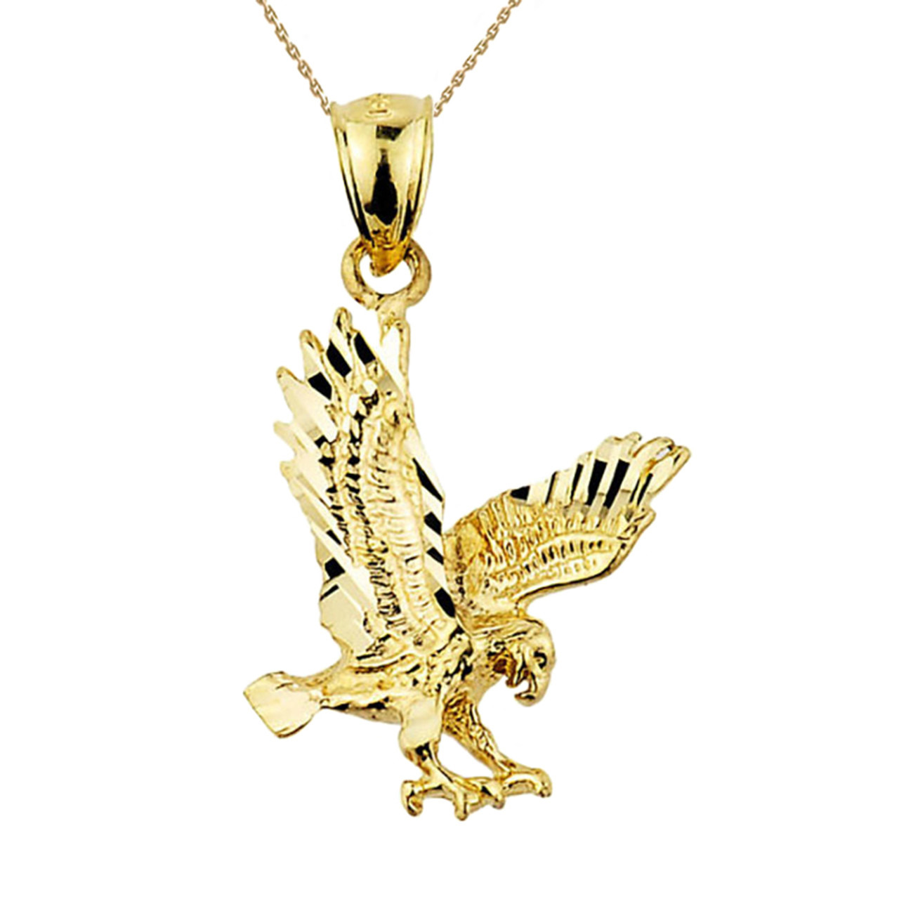 Solid yellow gold flying eagle pendant necklace solid yellow gold diamond cut eagle charm pendant necklace aloadofball Images