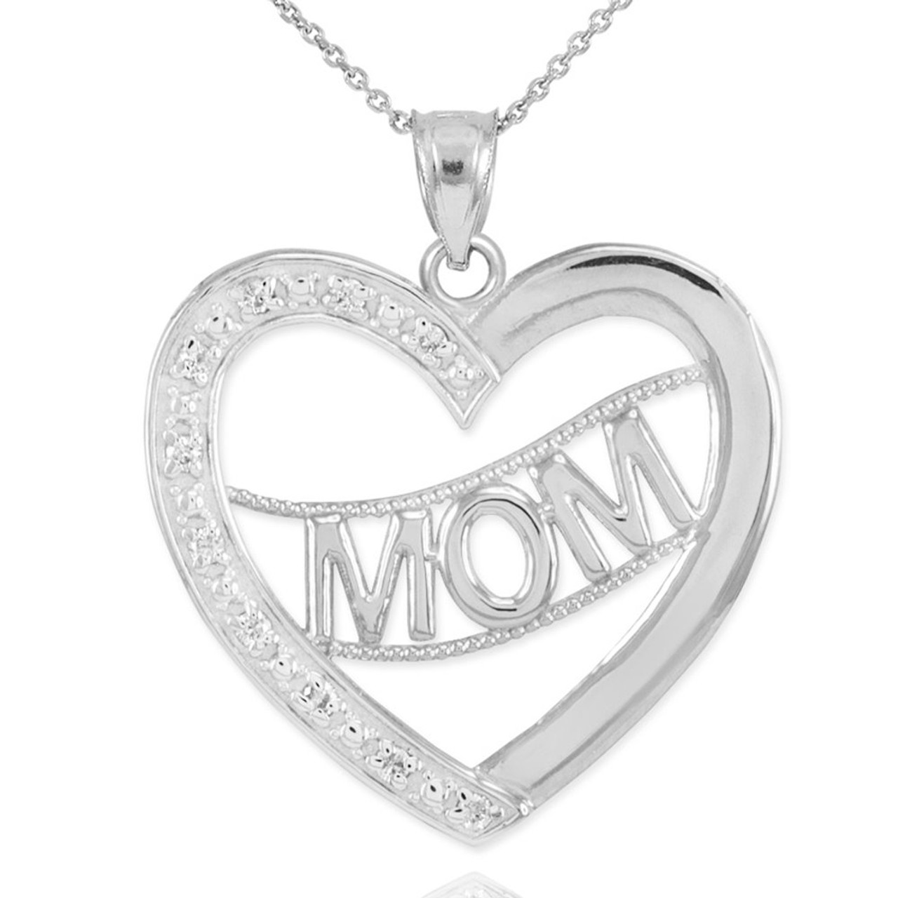 14k white gold diamond half studded mom heart pendant necklace mozeypictures Image collections
