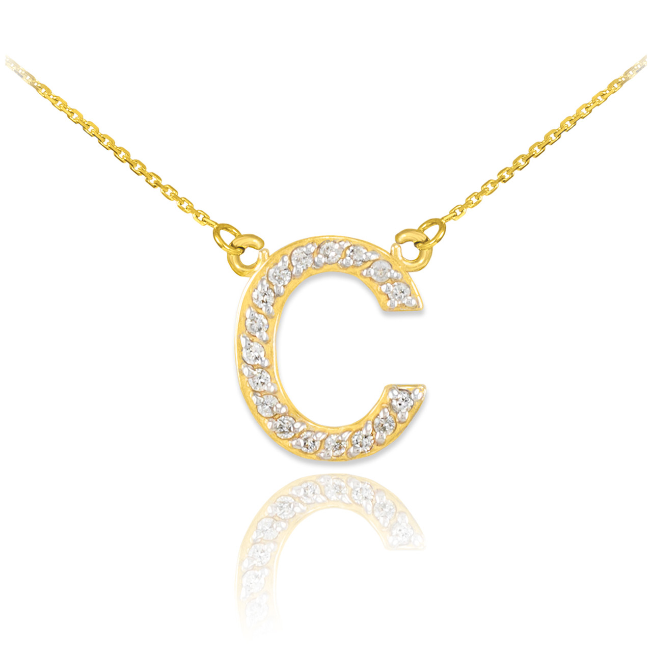 14k gold letter c diamond initial necklace aloadofball Image collections