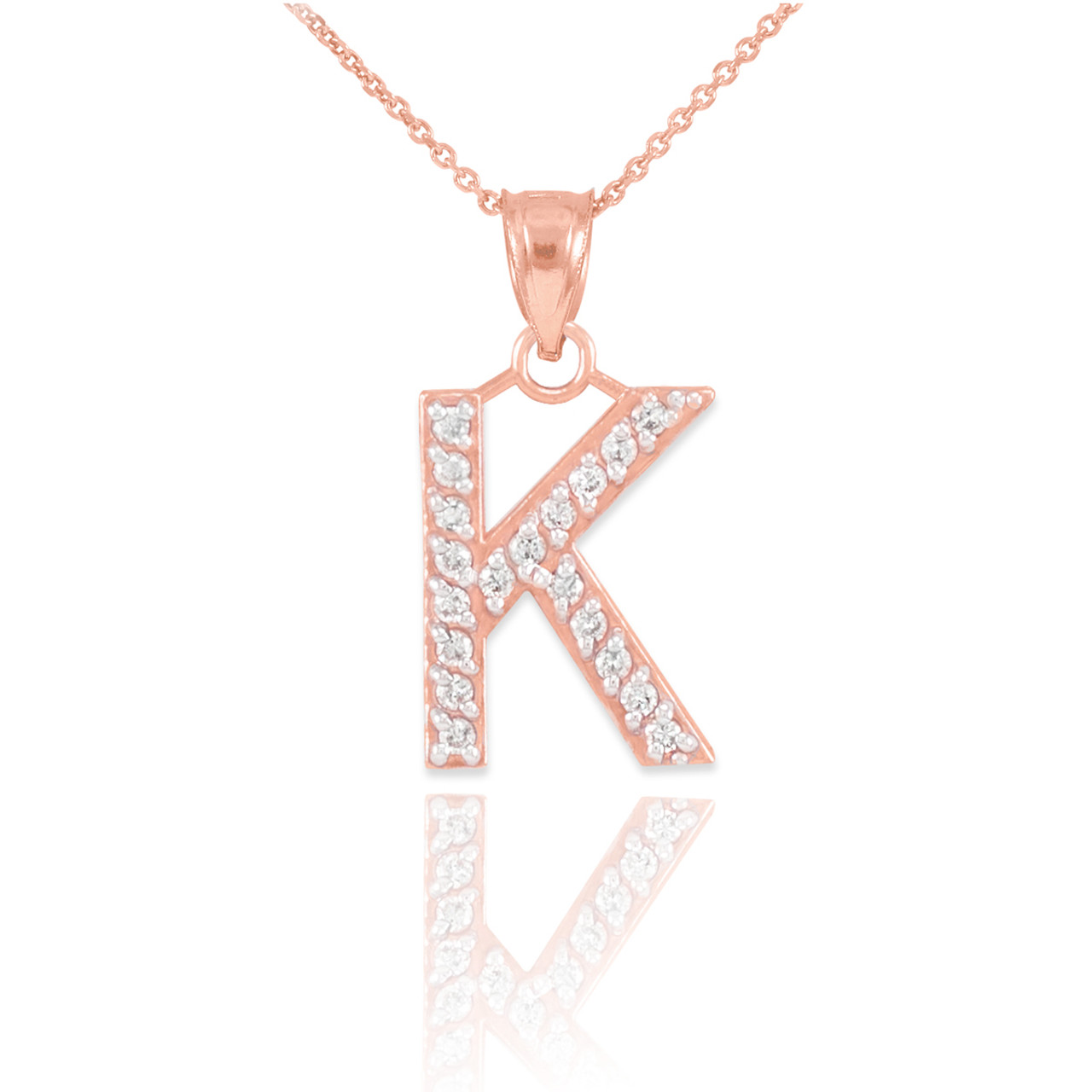 Rose gold letter k diamond initial pendant necklace aloadofball Choice Image